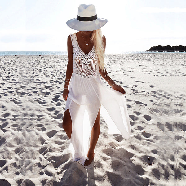 White Long Bikini Cover Ups With Tassels Summer Holiday Dresses