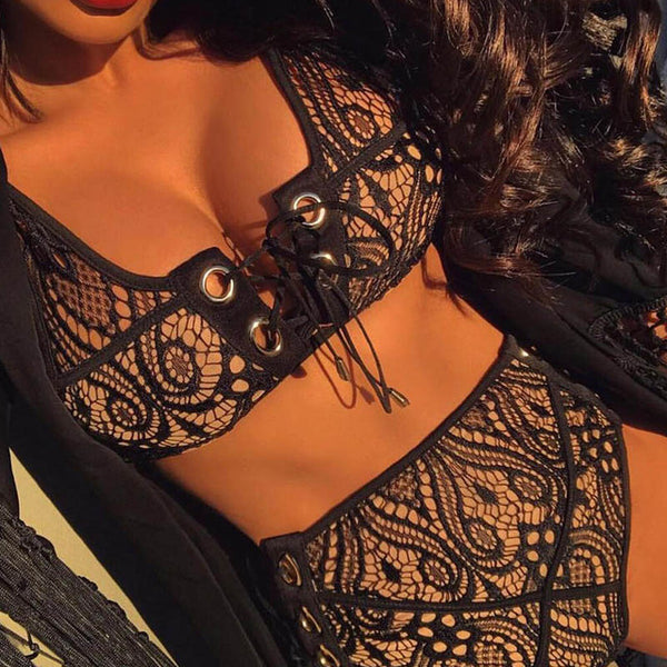 Black White Lace High Waist Swimsuit Bikinis Set 2018 Push Up Lace-up Swimwear Bathing Suit