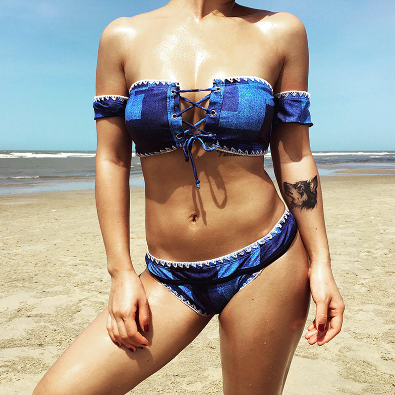 2018 Cowboy Bandeau Bikinis Set Crochet Off The Shoulder Swimsuit Push Up Strapless Swimwear Two Pieces Low Waist Bathing Suits