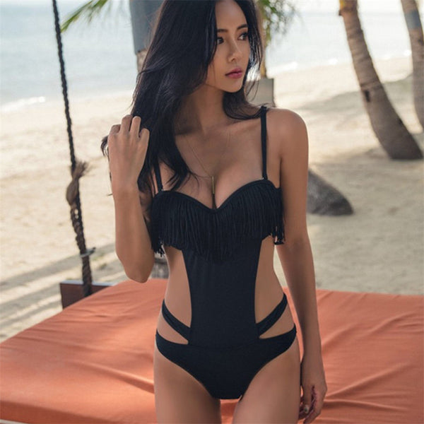 Black One Piece Swimsuit Women Push Up Swimwear Bandage Bathing Suit 2020