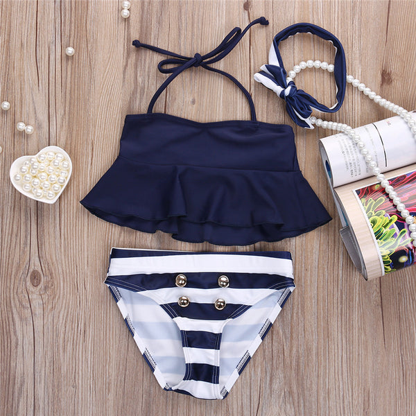 Children Girls Bikinis Set Ruffles Navy Striped Tankini Swimsuit Two Pieces Swimwear