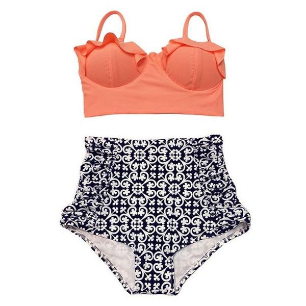 2018 Two Piece Bikinis Set Swimsuit High Waist Bathing Suit Push Up Vintage Printed Swimwear