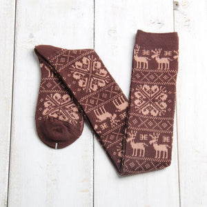 Snow and Deer Patterned Vintage Over the Knee Stockings