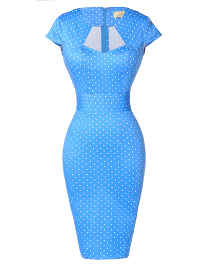 Summer Style Knee Length Polka Dots Floral Plaid Casual Pencil Business Office Dresses