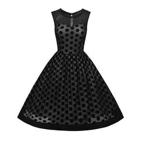 1950s Navy Black Red Polka Dot Vintage Sleeveless Swing Dress