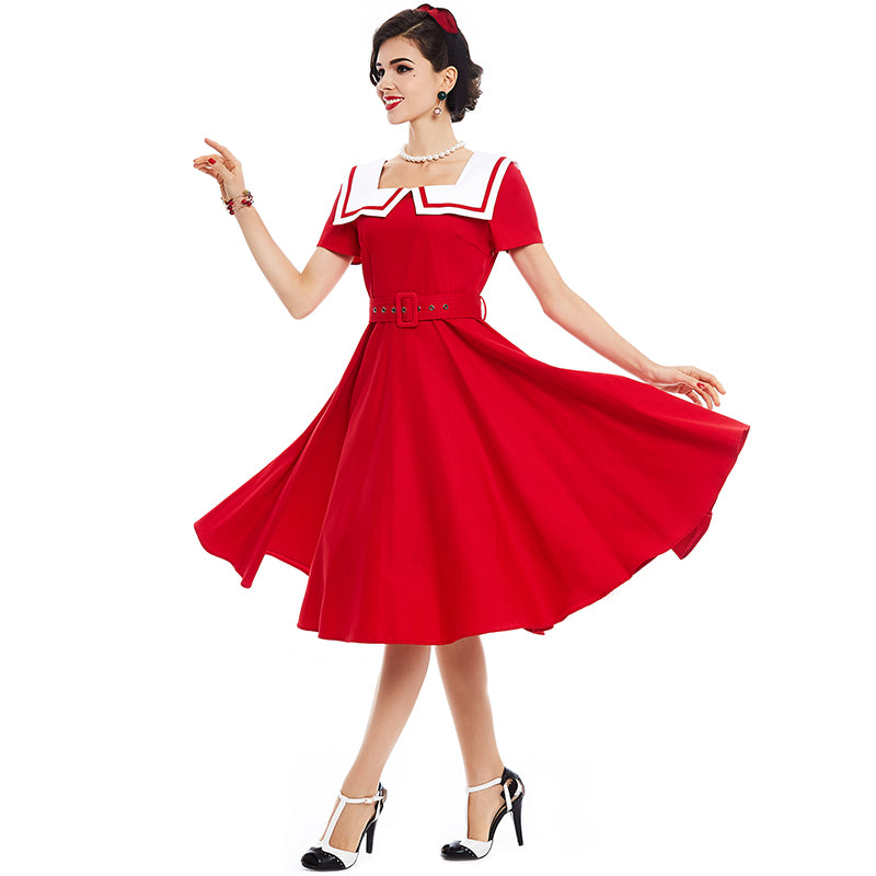 1950's Vintage Style Summer Dress with Sailor Collar and a Knee Length A-Line Flare