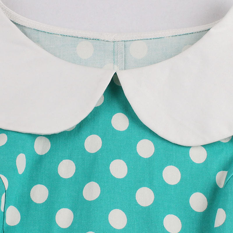 1950s Peter Pan Collar in Cute Polka Dot Dress
