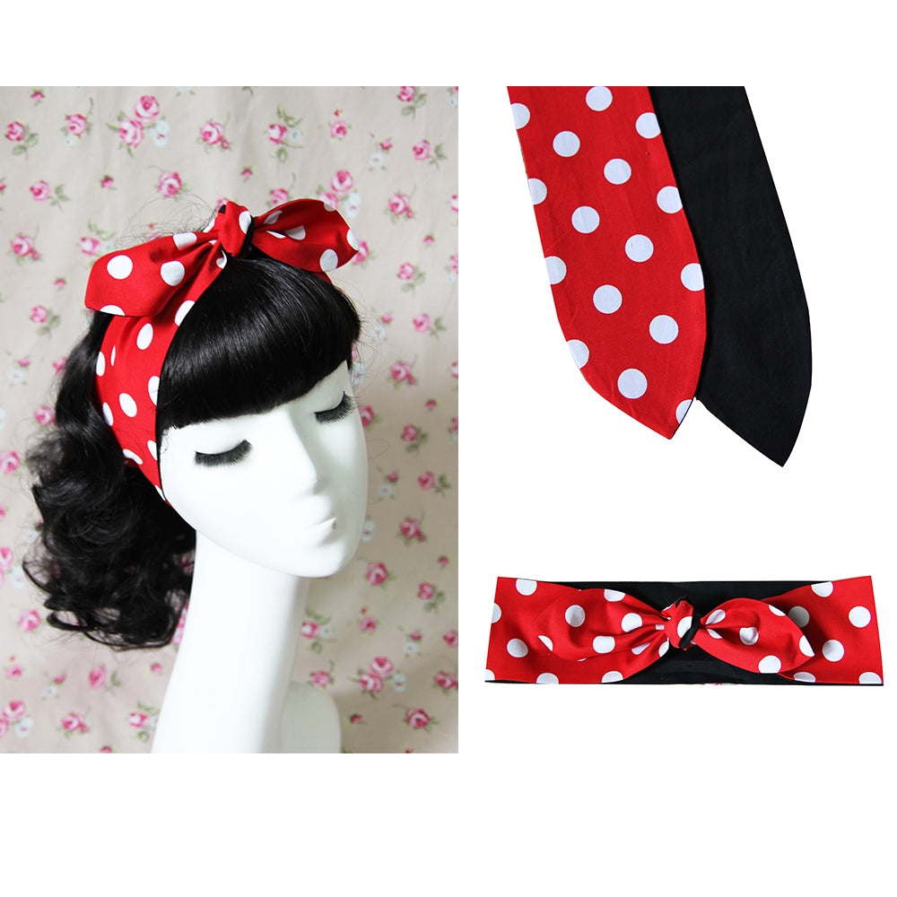 1950s Women Vintage Rockabilly Pin Up Style Red Dots Print Headband Hair Head Bands Accessories Bow Rabbit Ear
