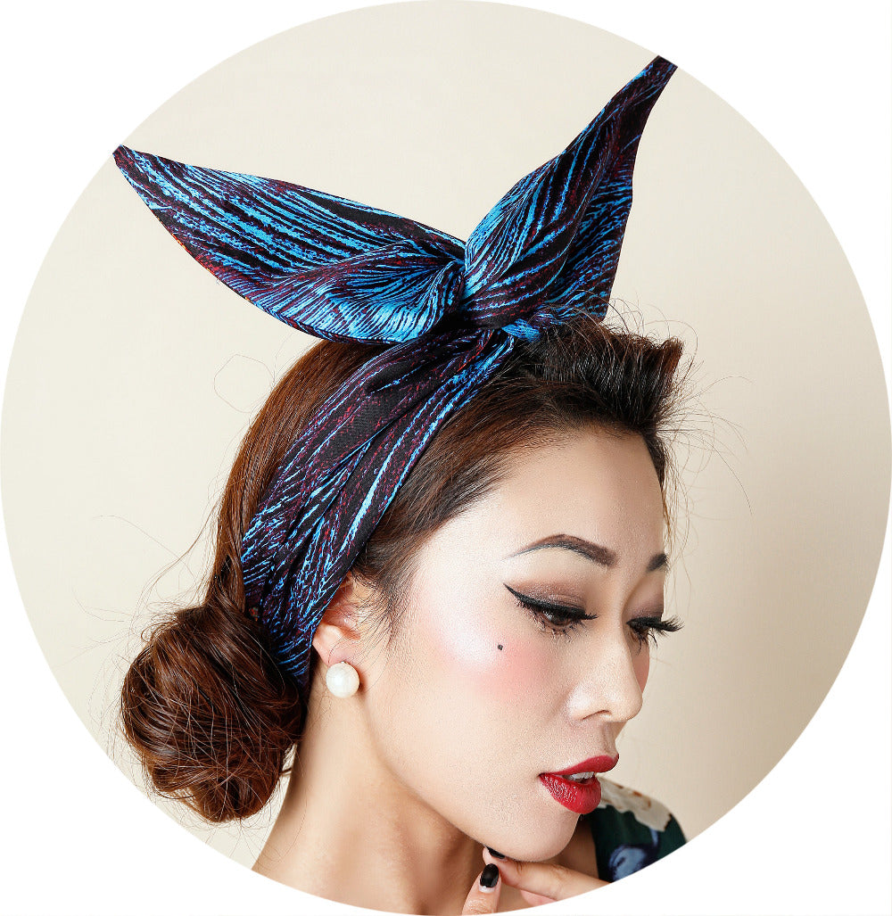 1950s Blue Peacock Feather Print Rabbit Ear Head Bands