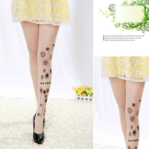 Classic Silk Faux Tattoo Stockings