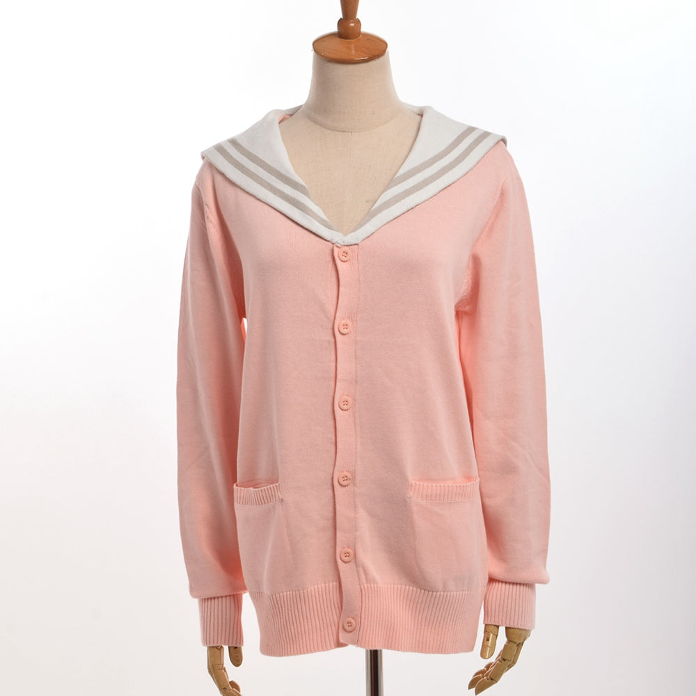 Preppy Sailor Collar Knitted Cardigan