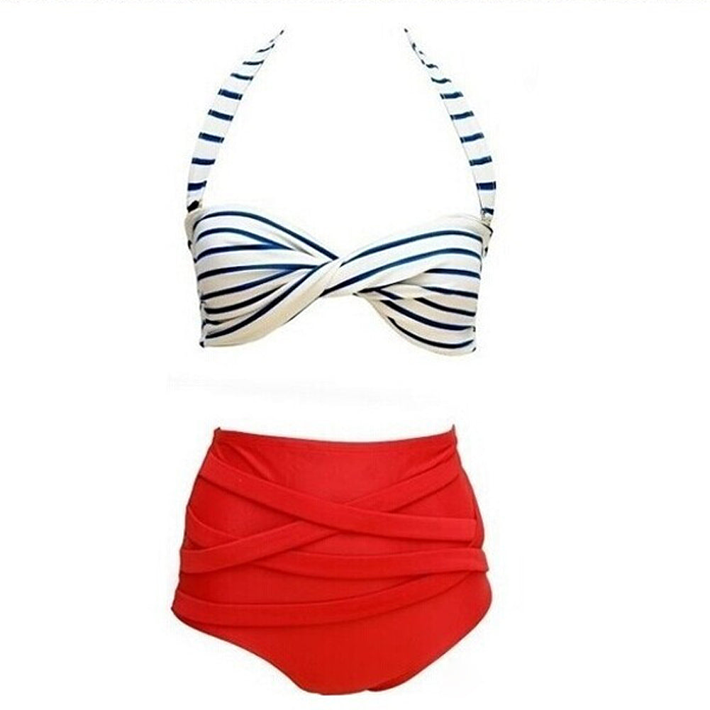 Summer Sexy Rockabilly Vintage High Waist Bikini  Red+White