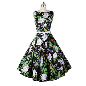 1960s Audrey Hepburn Rockabilly Floral Print Flared Dress
