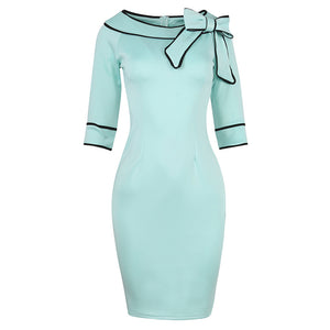 1950s Womens Autumn Half Sleeve Pinup Retro Bow Party Bodycon Dress