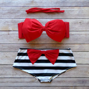 Push Up Bathing Suit with Ribbon Style