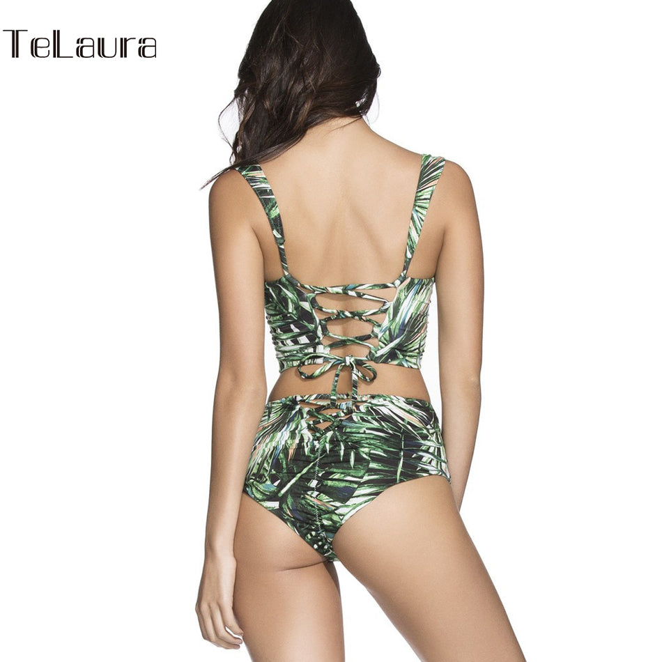 Womens Push Up High Waist Bikini Vintage Bathing Suit