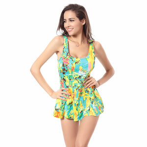 Floral Print Vintage Swimsuit with a Backless design and a High Waist