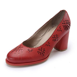 Genuine Leather Vintage Fretwork Pumps Shoes