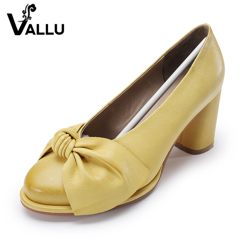 Genuine Leather Vintage Butterfly-knot Pumps Shoes