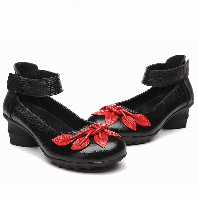 Genuine Leather Vintage Flower Shoes