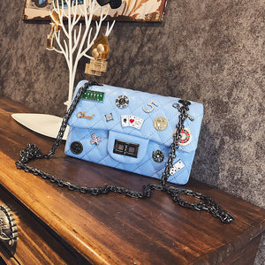 Quilted Chain Punk with Diamonds Butterflies Print Messenger Bags