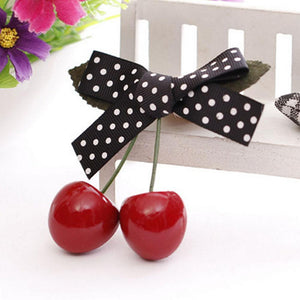Retro Vintage Cherry Bow Hair Clip Jewelry For Pinup Girls Rockabilly