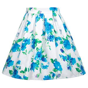Vibrant Flower Pattern Retro Vintage Swing Elastic Waist Pleated Rockabilly Skirt
