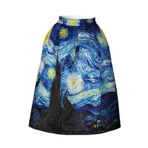 Vintage Van Gogh Starry Sky Oil Painting Print High Waist Rockabilly Skirt