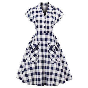 Womens Plaid V-Neck Button Down Short Sleeve A-Line Vintage Rockabilly Dress