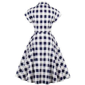 Plaid V-Neck Button Down Vintage Rockabilly Dress
