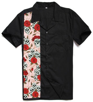 Mens Cotton Rockabilly Vintage 50s Style Bowling Shirt