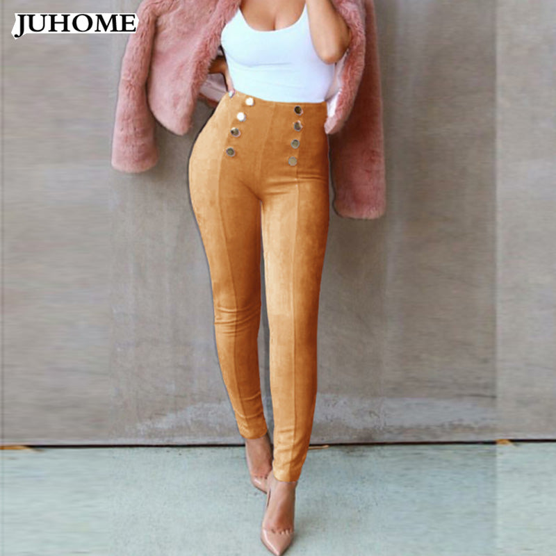 Women's Slim Long Pencil Pants in Faux Suede