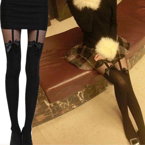 Mock Bow Suspender Sheer Stockings Tights