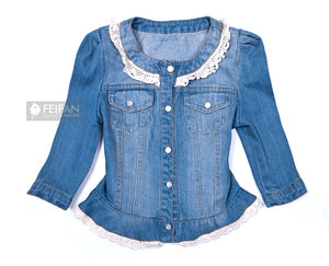 Denim Jacket in Lace Pearl Collar