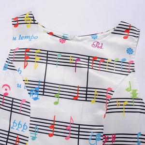 2017 New Style Women Musical Note Print Dress Sleeveless White Female Casual Music Swing Dresses Aug31