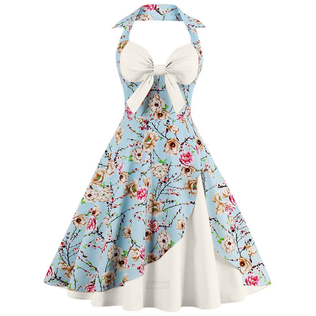 Rockabilly Halter Patchwork Vintage Dress