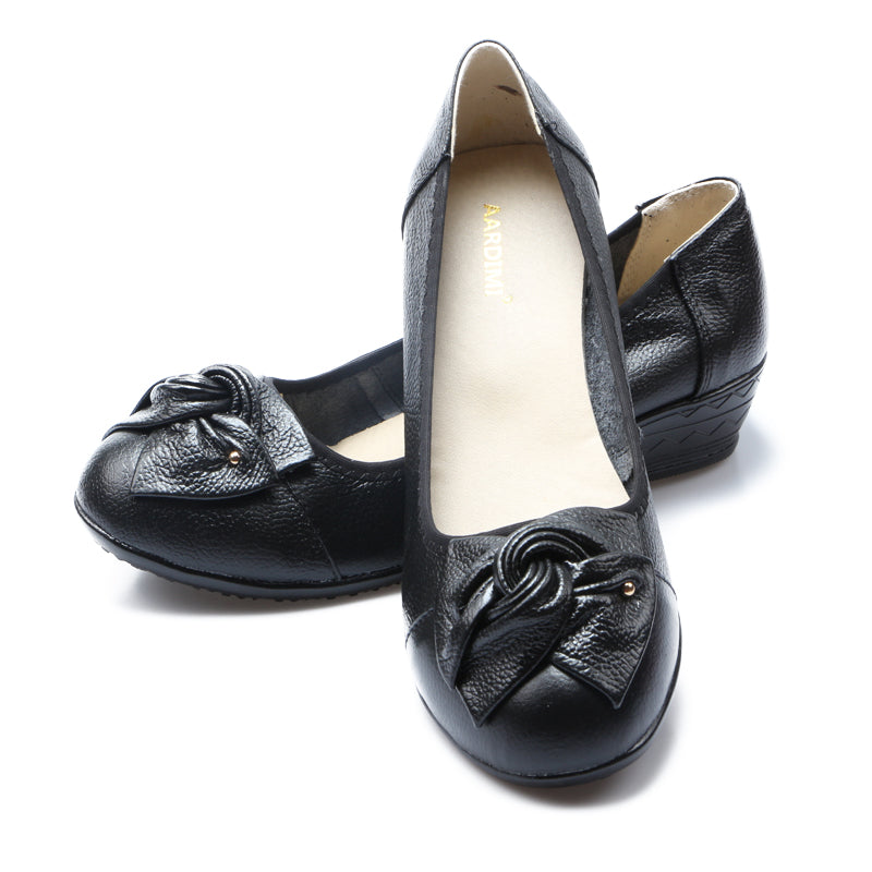 Womens Genuine Leather Slip On Style Wedge Shoes with Decorative Bow