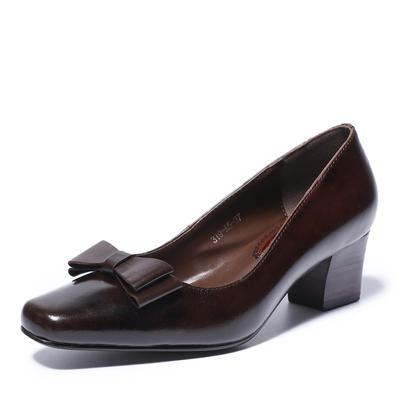 Womens Genuine Leather Square Heel Slip On Vintage Rockabilly Style Pump Shoes