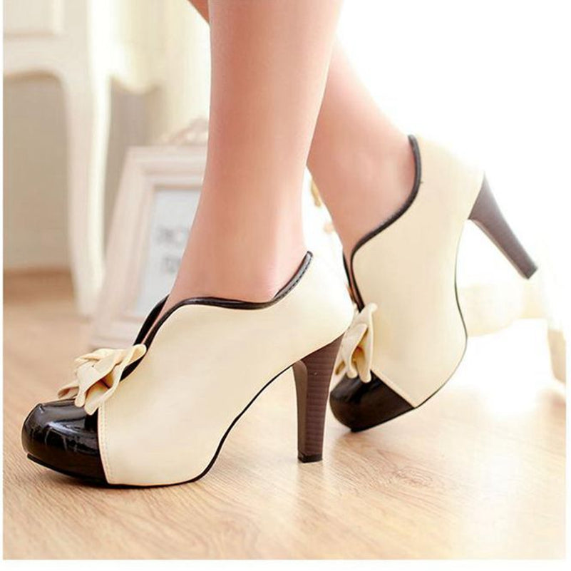 Womens Vintage Rockabilly Style Bowtie Spike High Heel Pumps