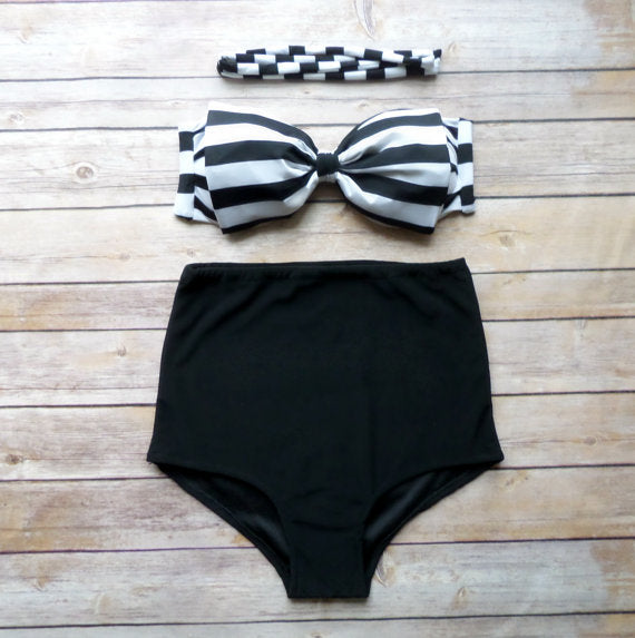 Womens High Waist Halter Wireless Push Up Swimsuit Bikini