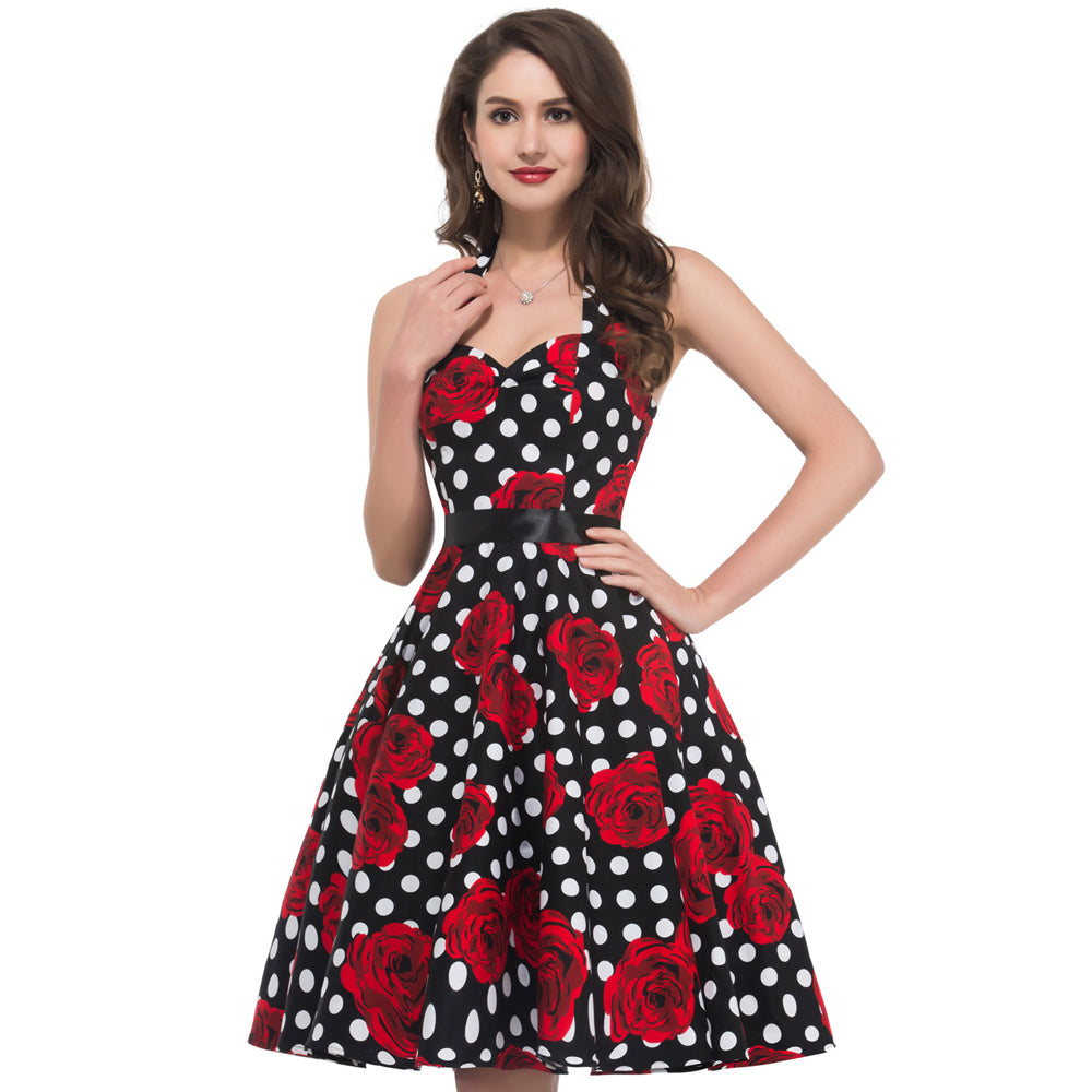 Womens Printed Pin Up Style 50s Rockabilly Swing Dress