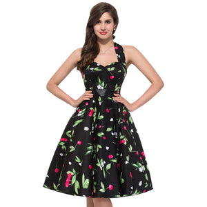 1960s Floral Print Pin Up Style Rockabilly Swing Dress