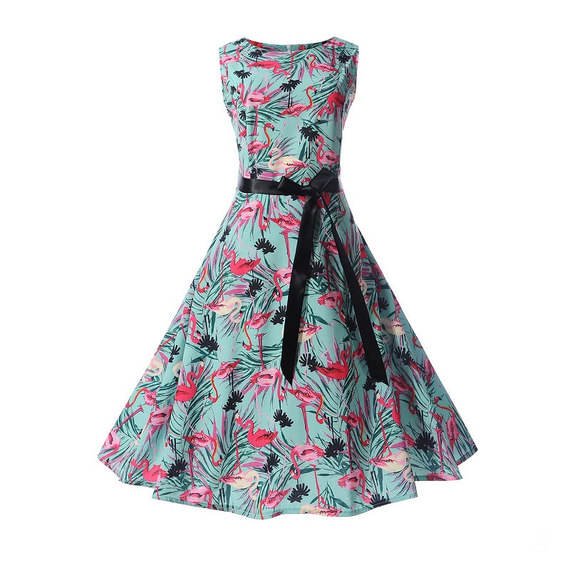 1960s Vintage Retro Floral Print Swing Dress