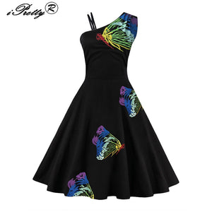 Vintage Butterfly Embroidery Rockabilly Empire Oblique Sleeveless Dress