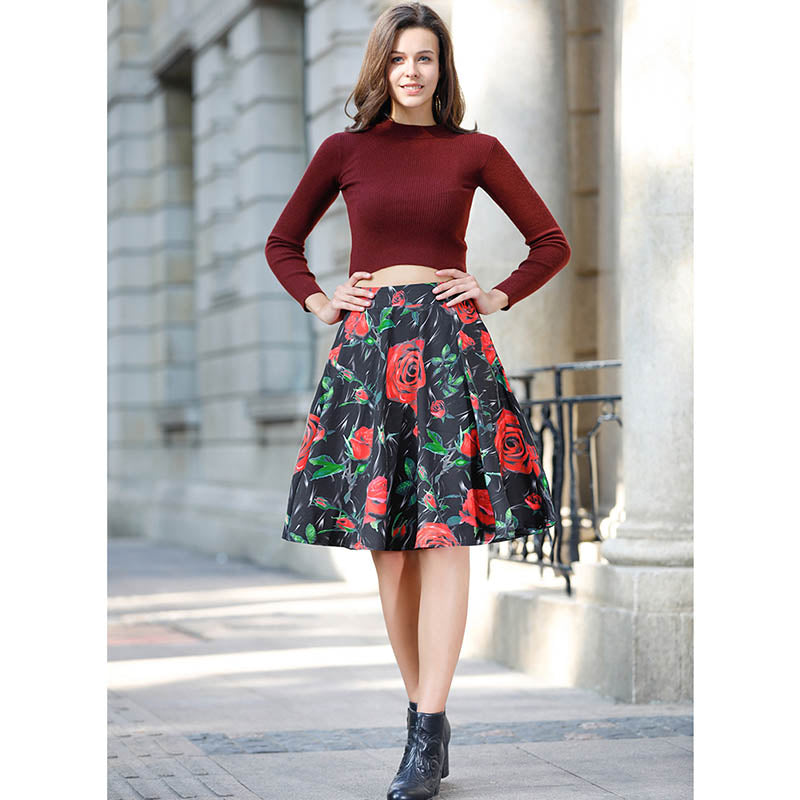 Summer Vintage Midi Skirts in Floral Print