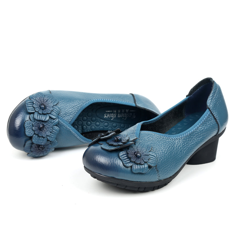 Vintage Handmade Flower Comfortable Pumps