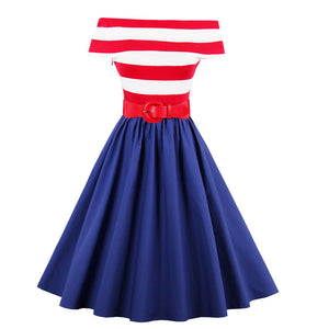 1950s Off-Shoulder Striped Rockabilly Swing Dress