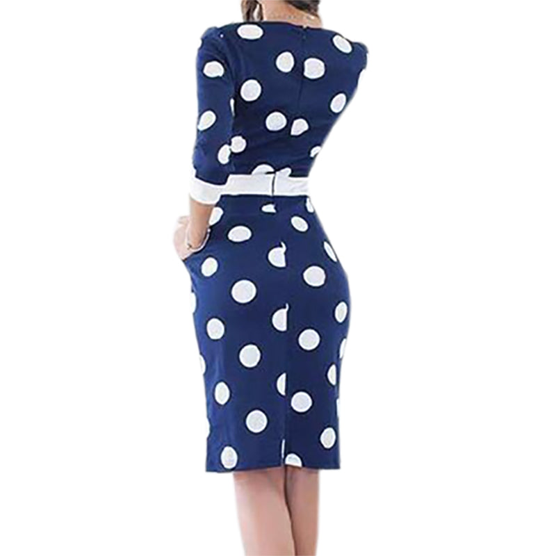 Womens Casual Bodycon Sexy Polka Pin Up Dot Party Dress