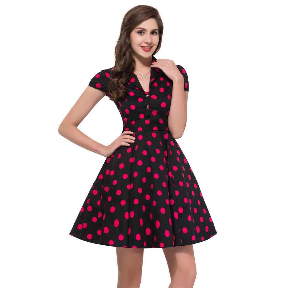 1950s Picnic Polka Dot Retro Dress