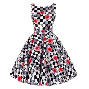 Womens 50s  Pinup Style Polka Dot Casual Rockabilly Party Dress